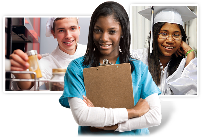 Group of youth in Nursing, Culinary Arts & Graduation