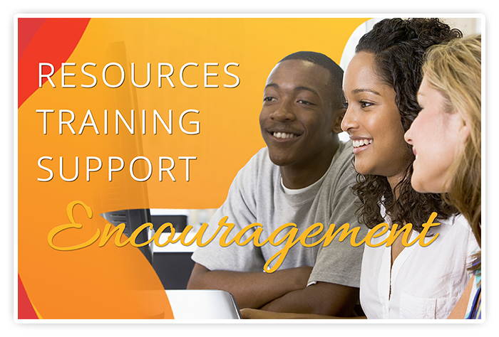 Group of youth studying on computer. Caption: Resources, Training, Support, Encouragement